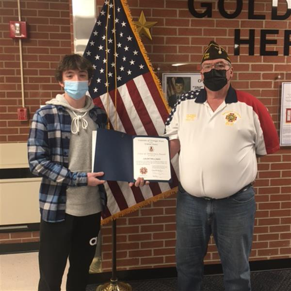 Isaiah Wellman VFW Essay Contest Award Recipient