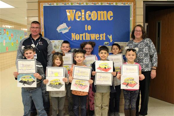 Bus Safety Coloring Contest Winners at NW