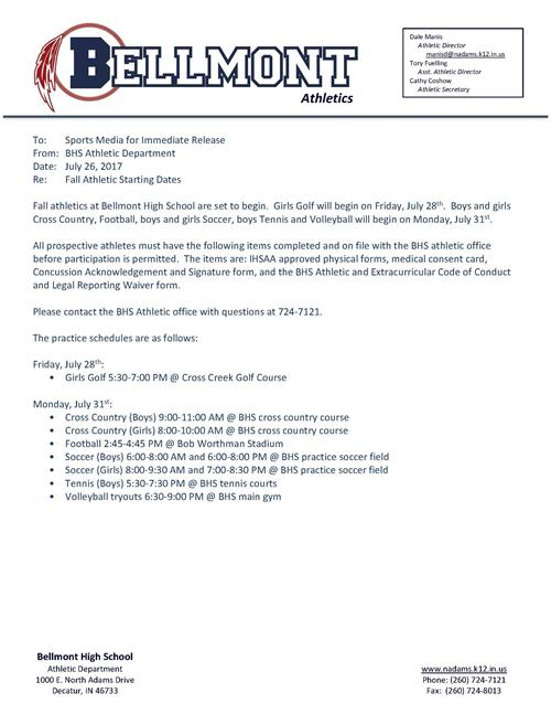 Bhs Fall Sports Practicetry Outs Announcement